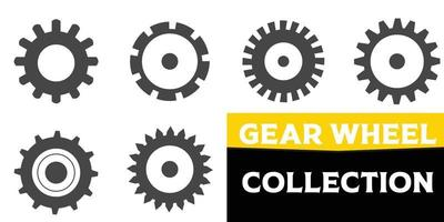 Gear set. Black gear wheel icons on white background