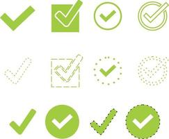 Green tick collection. Vector