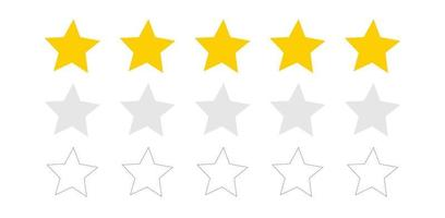Star icon. Vector yellow isolated five stars. Vector 5 stars rating review. Quality shape design.