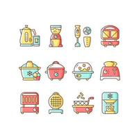Small kitchen appliance RGB color icons set vector