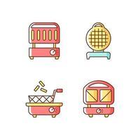 Kitchen appliances RGB color icons set vector