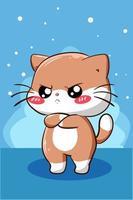 ilustración de dibujos animados lindo y divertido gato vector