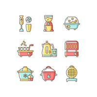 Electric cooking devices RGB color icons set vector