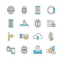 Smart watch RGB color icons set vector