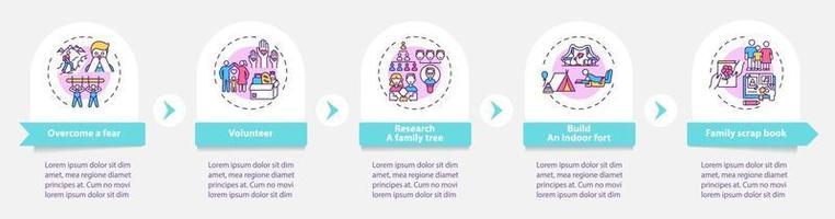 plantilla de infografía de vector de consejos de unión familiar