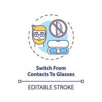 Switch from contacts to glasses concept icon vector