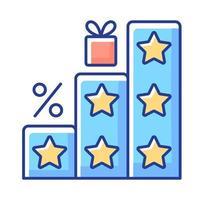 más puntos y recompensas icono de color rgb vector