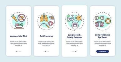 Eye health tips onboarding mobile app page screen with concepts vector