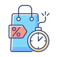 oferta por tiempo limitado icono de color rgb