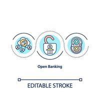 icono de concepto de banca abierta vector