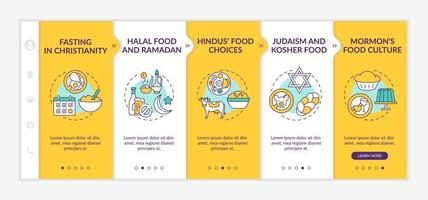 Food restrictions in religion onboarding vector template