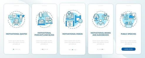fuentes de contenido motivacional que incorporan la pantalla de la página de la aplicación móvil con conceptos vector