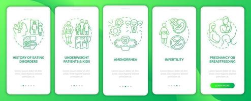 Intermittent fasting precaution green gradient onboarding mobile app page screen with concept