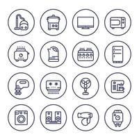 Appliances and consumer electronics line icons on white vector