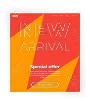 banner de nueva llegada, plantilla de sitio web, diseño de una página para web vector