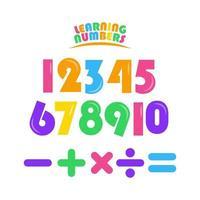 aprendizaje de números establecidos para niños vector plantilla diseño ilustración