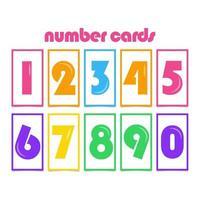 Tarjetas de números para niños ilustración de diseño de plantilla de vector