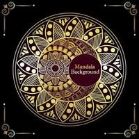 Mandala background with golden pattern vector