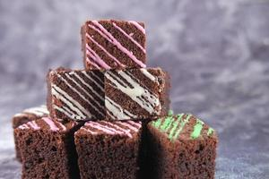 Homemade brownies on a plate photo