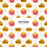 Fast food with emoticon seamless pattern vector