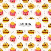 comida rápida con emoticonos de patrones sin fisuras vector
