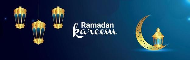 Ramadan kareem banner with golden islamic lantern and moon vector
