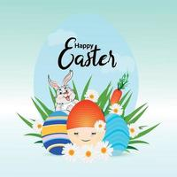 Realistic happy easter day design concept vector