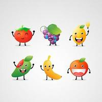 conjunto de lindas frutas emoji vector
