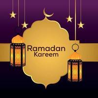 Ramadan kareem flat greeting card background vector