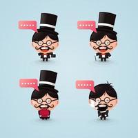 set of cartoon mascot magicians vector