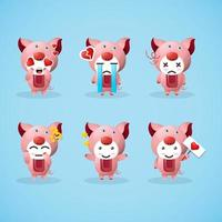 set of cute pig mascots with expressions vector