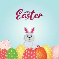 Happy easter greeting card with easter eggs and bunny vector