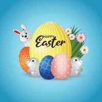 Happy easter day background with easter eggs vector