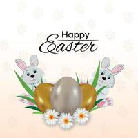 Happy easter day greeting card and easter bunny and eggs vector