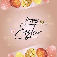 fondo creativo del feliz día de pascua con huevos de pascua vector