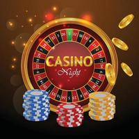 Casino luxury greeting card with slot machine and casino chips vector