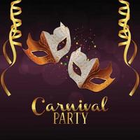 Carnival celebration party background with creative mask on purple background vector