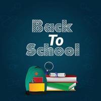 Back to school background and school equipment vector