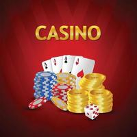 Gambling chip with casino playing card vector