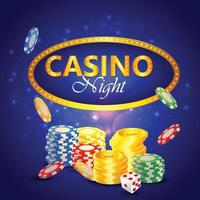 Casino night background with elements vector