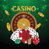 Fondo de lujo de casino con tragamonedas de casino y fichas con naipes vector