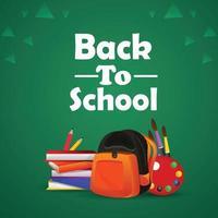 Back to school background with creative school equipment vector