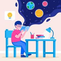 Student Studying Science Concept vector