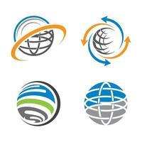 Ilustración de icono de vector de tecnología de logotipo global