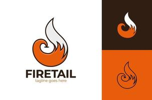 fox tail logo vector element icon illustration. Fox tail Fire Logo design in circle shape and thumbs up like symbol