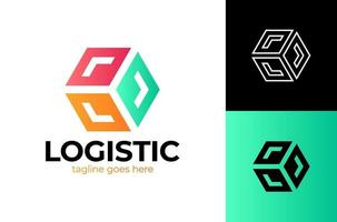 Delivery Box with Arrow Logo. Fast Box Logo Vector. Speed Moving Box Logotype. Delivery and logistic logo design concept. vector