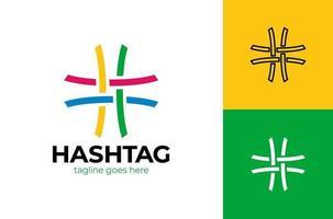 Hash tag simple origami paper icon. Logo material design. hashtag logo design vector icon