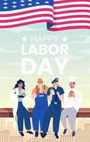 Labor Day With People Of Different Occupations vector