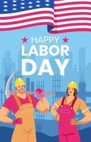 Happy Labor Day with Worker Concept vector