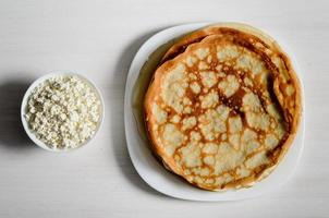 Homemade pancakes on the plate photo